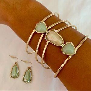 Anna & Ava Stone Cuff Bracelet and Earrings